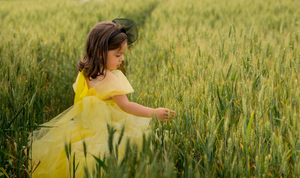 foto copii portret fetita printesa in lanul de grau